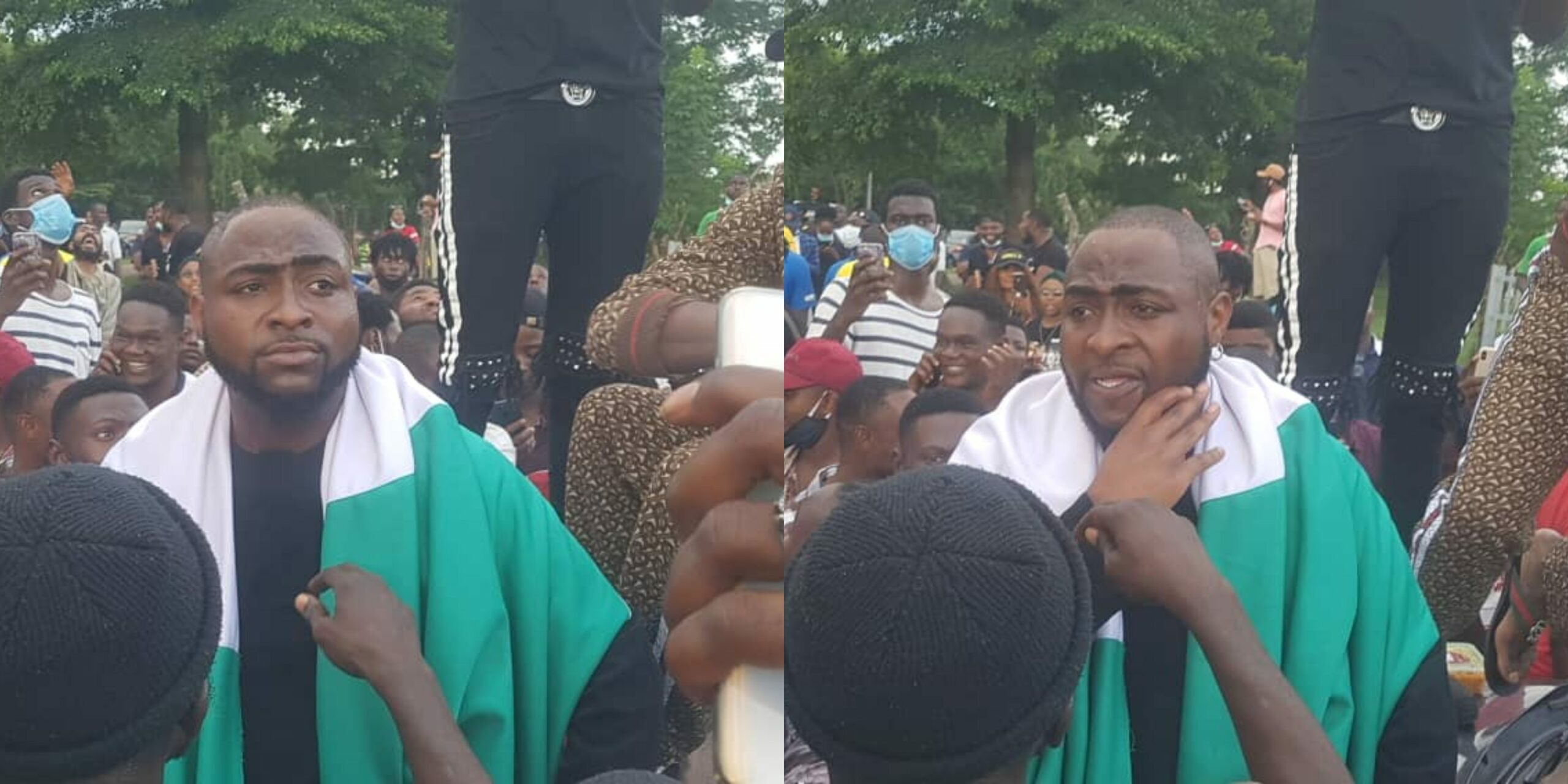 """#EndSARS: """"It is far from over"""" - Davido says as joins protesters in Abuja (Photos)"""