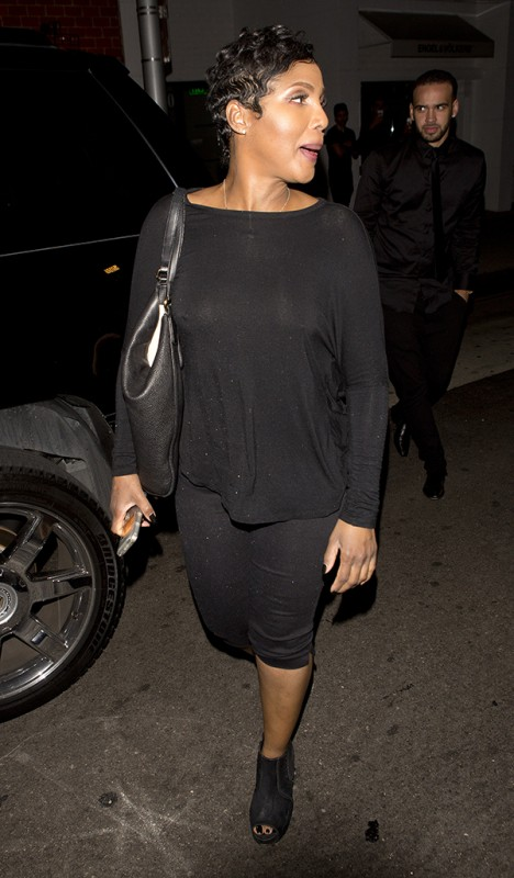 Toni Braxton has a slight wardrobe malfunction as her top went see-through as she was leaving Mr. Chow in Beverly Hills, CA