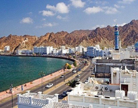 Oman Arabia East Corniche town city Old Town Muttrah courage yard Maskat Muscat overview coast sea