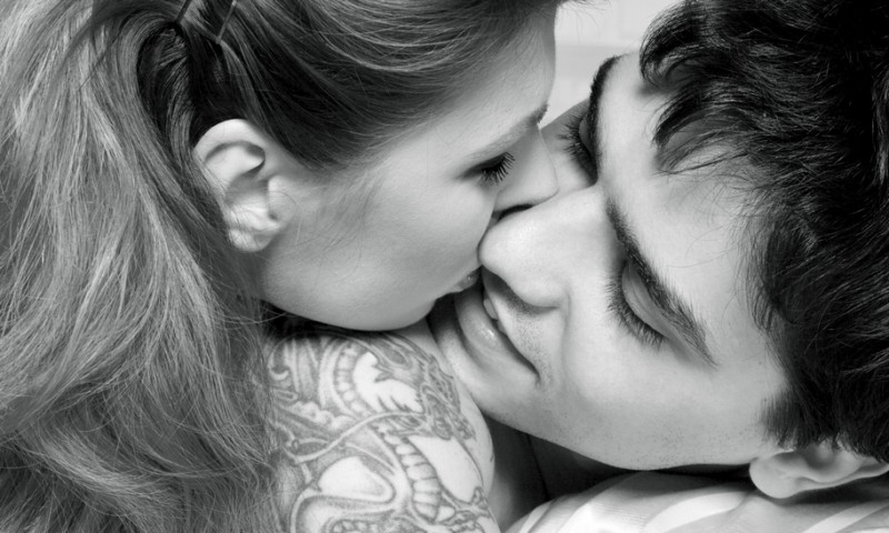 love, relationship, man, woman monochrome picture of sweet couple in bed