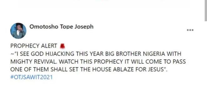 A BBNaija housemate will set the house ablaze – Pastor
