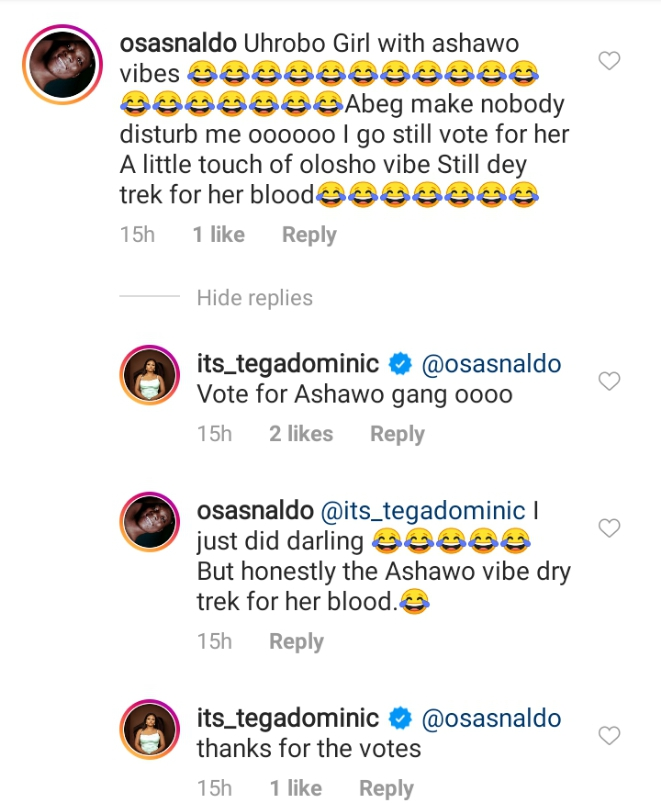 Tega Husband Reacts As Fans Vow To Evict Tega Over Affair With Boma